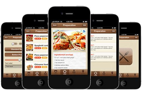 foody iphone and ios app ui design templates