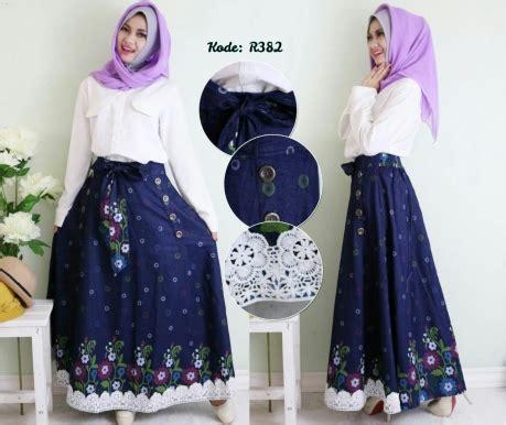 Setelan Atasan Rok Panjang Biru Hitam Soft Silk Chiffon Import rok motif renda r382 baju style ootd