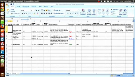 12 Bug Report Template Excel Exceltemplates Exceltemplates Issue Tracker Template