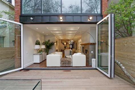 Exterior Patio Interior Exterior Folding Glass Walls Modern Patio