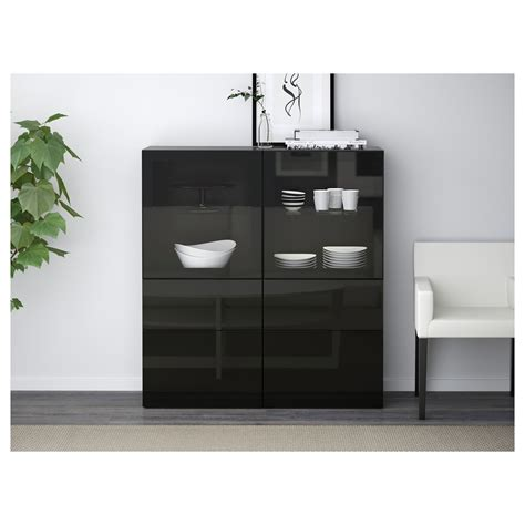 ikea besta black gloss best 197 storage combination w glass doors black brown