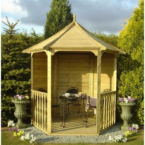 Large Wooden Gazebo With Sides Shire Gazebo Arbour Summerhouse Hexagonal 6 Sided Pressure