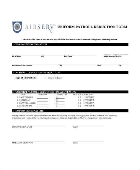 employer tax deduction form sle payroll deduction forms 10 free documents in pdf
