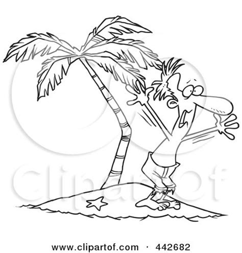 how to draw a beached boat clipart shipwrecked man on a tropical island royalty