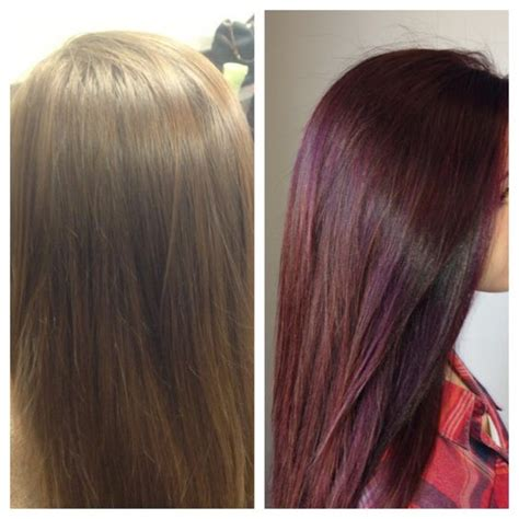 black hair to raspberry hair dark red lowlights with chocolate brown base color i