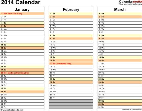 2014 calendar template for word 2014 calendar by quarter calendar