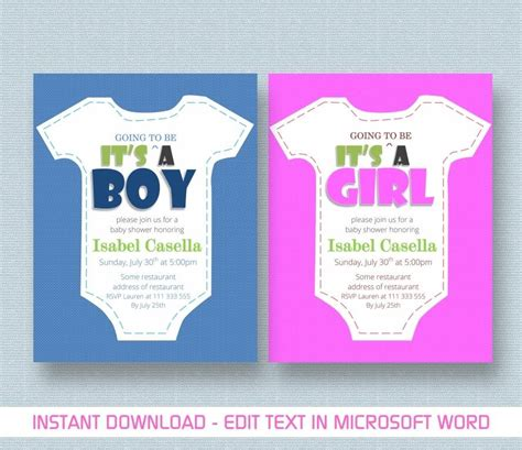 baby shower invitation template for ms word youtube