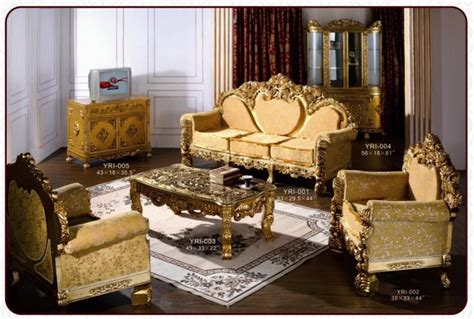 Gold Living Room Furniture European Gold Color Rococo Style Luxury Sofa Set Product