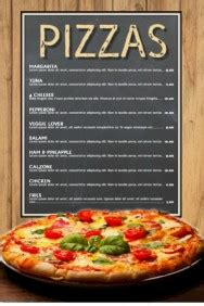 pizza menu template word customizable design templates for pizza postermywall