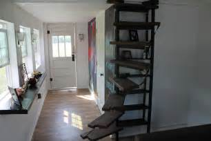 Rustic Bookcase With Doors Tiny House Spiral Staircase Tiny House Big Living These