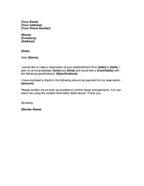 reservation request letter template