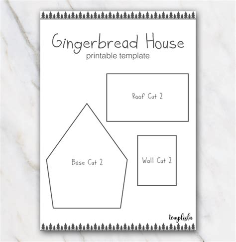 gingerbread house card template printable gingerbread house template with christmastrees