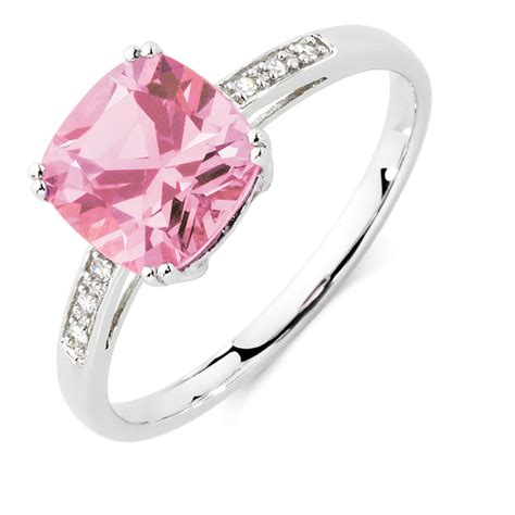 Ring With Created Pink Sapphire Diamonds In 10kt White Gold