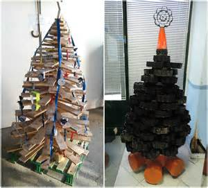 christmas trees made with recycled materials recyclart