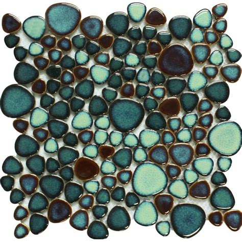 green porcelain tile pebbles bath wall backsplash tiles