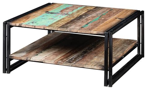 for sale coffee table made of steel and granite kempton coffee table with shelf made of metal and recycled wood