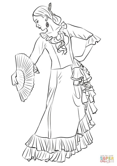 spanish flamenco dancer coloring page free printable