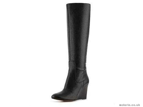 nine west womens black boots boot heartset wide calf wedge