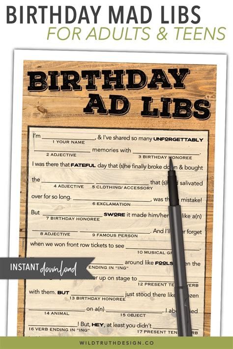 hilarious birthday mad lib  adults country wood theme