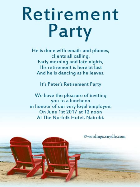 retirement announcement template retirement invitation wording gangcraft net