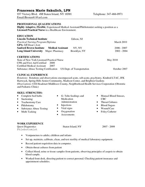 Sle Resume For Entry Level Lpn Entry Level Lpn Resume Sle Nursing
