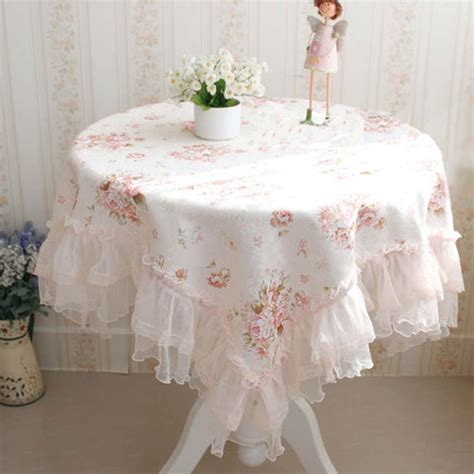 Shabby Home Decor Pink Lace Table Cloth 70120 Taplak Meja ruffle tablecloth