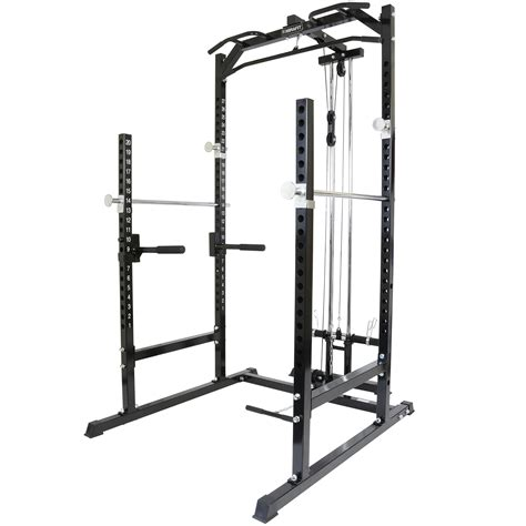 bench press cage mirafit half power cage rack cable pull down with