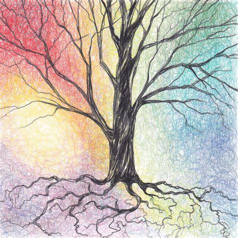 chagne colored tree colored pencil tree collidescopes