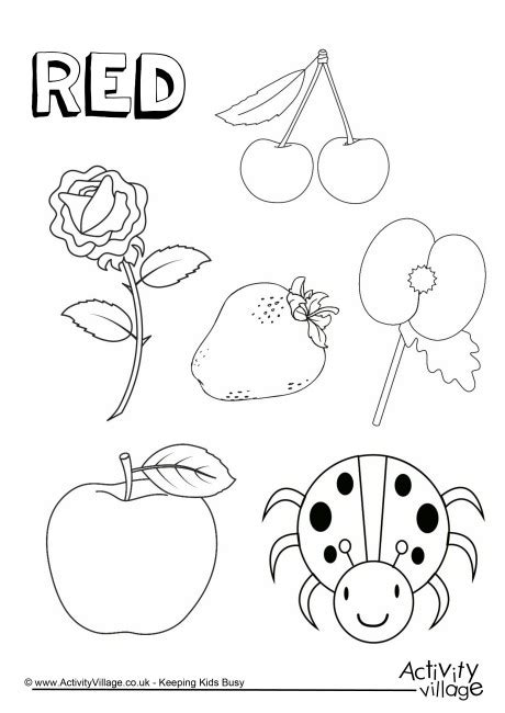 preschool red coloring pages red things colouring page colors pinterest red
