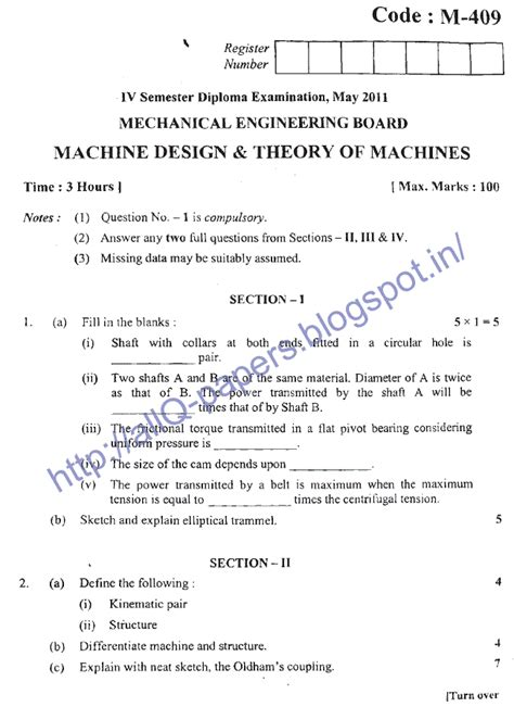 design of machine elements question paper pdf diploma mechanical engineering solved question papers
