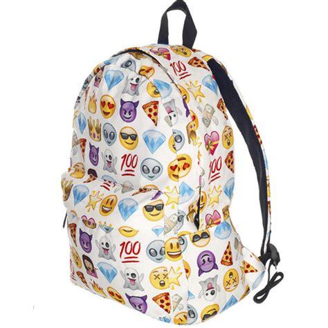 bag backpack back to school emoji print trendy white
