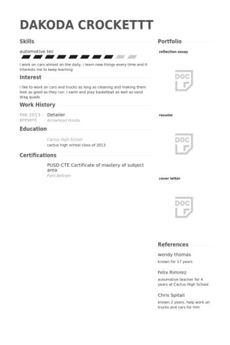 detailer resume sles visualcv resume sles database