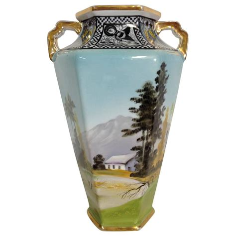 Deco Vases Antique by Antique Deco Noritake Morimura Vase Signed For Sale