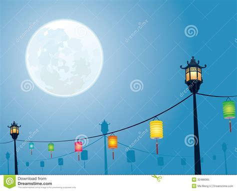 Full Moon Night Mid Autumn Festival Stock Vector Image Mid Autumn Festival Powerpoint