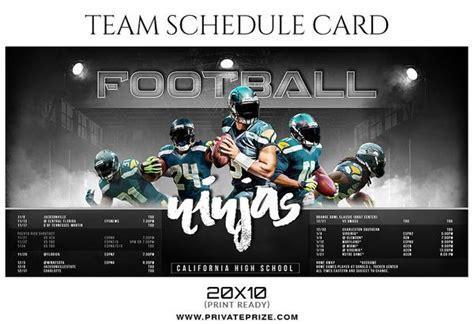 Football Ninjas Team Sports Schedule Card Photoshop Templates Sports Ticket Template Photoshop