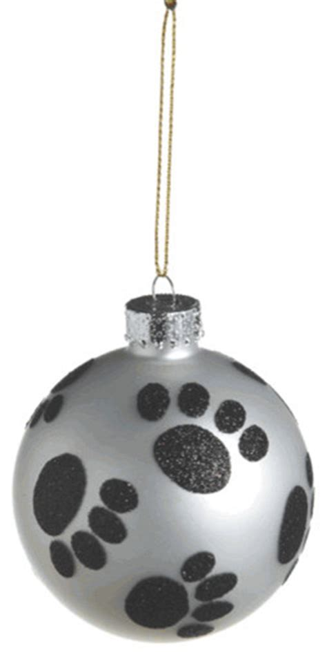 paw print christmas tree ornament glass ball dog pet