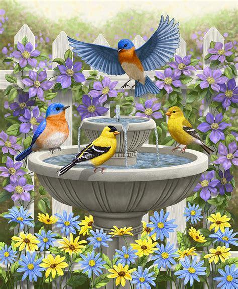 bath painting festivities birds and birdbath painting
