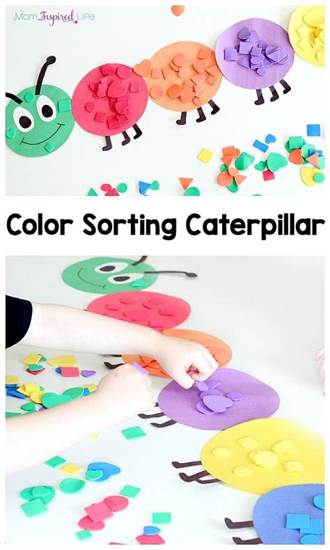 color activities for toddlers shape and color sorting caterpillar activities