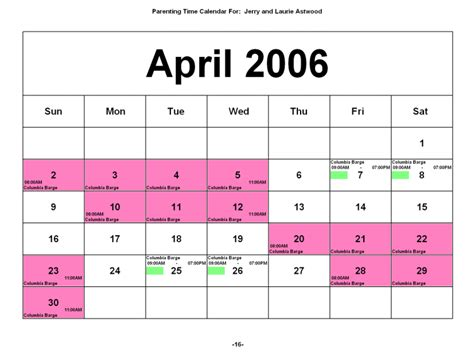 Custody Calendar Visitation Schedule Calendar Images