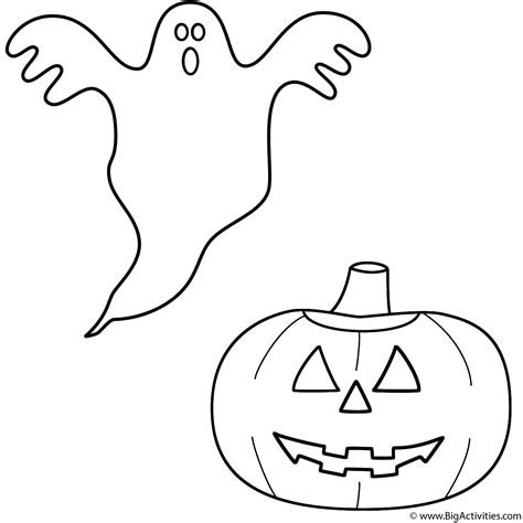ghost with pumpkin jack o lantern coloring page halloween
