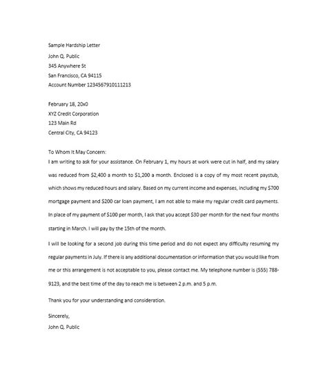 College Hardship Letter 35 simple hardship letters financial for mortgage for