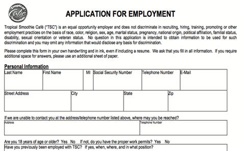 printable job application for smoothie king tropical smoothie nutrition pdf nutrition ftempo