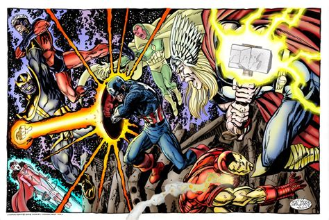 avengers by john byrne marvel comics of the 1980s some very cool coloured john byrne commission by rick hannah