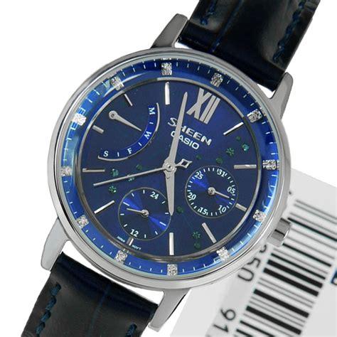 Casio Sheen She 3012 Leather casio womens sheen blue blue leather quartz she