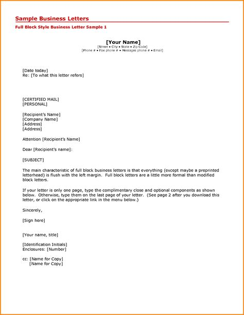 7 formal business letter format sle financial