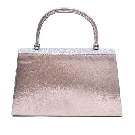 Other Designers Ry Augousti Designer Evening Clutches by Metallic Silver Polyester Glitter With Top Handle And