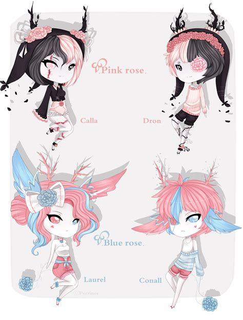 Drawing Your Ocs by Contest Pink And Blue Roses Closed By Purrinee On