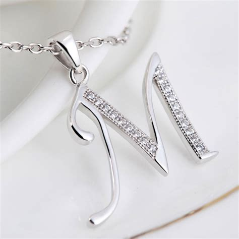Women's Sterling Silver Initial Pendant Necklace Made With