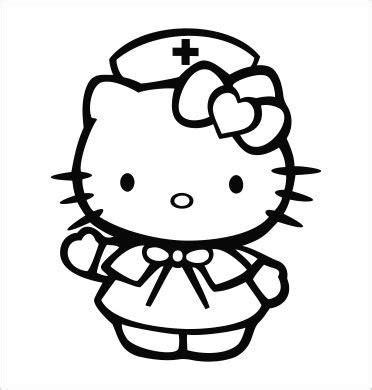 hello kitty nurse coloring pages hello kitty nurse vinyl die cut decal sticker 5 00 quot black