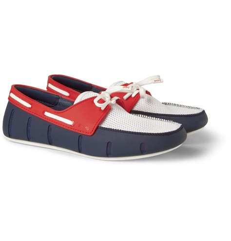 swims rubber and mesh boat shoes lyst swims colourblock rubber and mesh boat shoes in